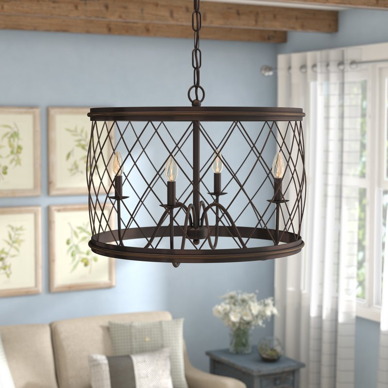 Newest Cavanagh 4 Light Geometric Chandeliers Inside Gabriel 4 Light Candle Style Chandelier (View 21 of 25)