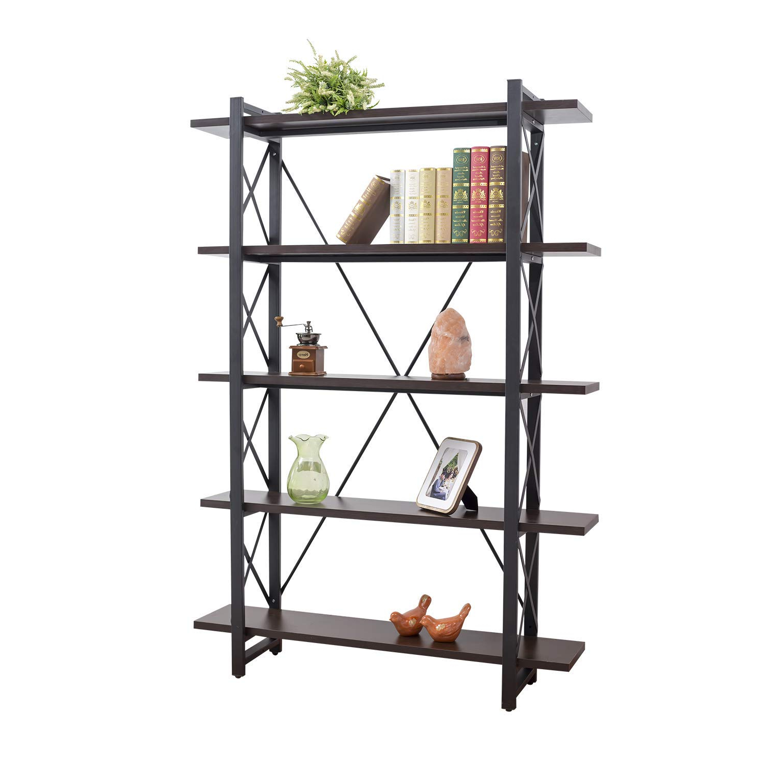 Newest Grace Tech 5 Tier Industrial Bookshelf Etagere Bookcase Wood And Metal Book Shelves Furniture Black With Rech 4 Tier Etagere Bookcases (Gallery 4 of 20)