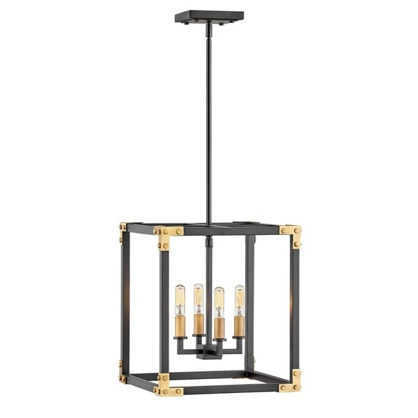 Newest Hinkley Louis 4 Light Chandelier In Satin Black Throughout Hewitt 4 Light Square Chandeliers (View 18 of 25)