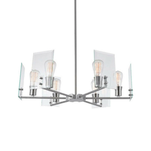 """Newest Joon 6 Light Globe Chandeliers Within Globe Electric 60369 Cleve 6 Light 25"""" Wide Chandelier – Brushed Nickel (Gallery 22 of 25)"""