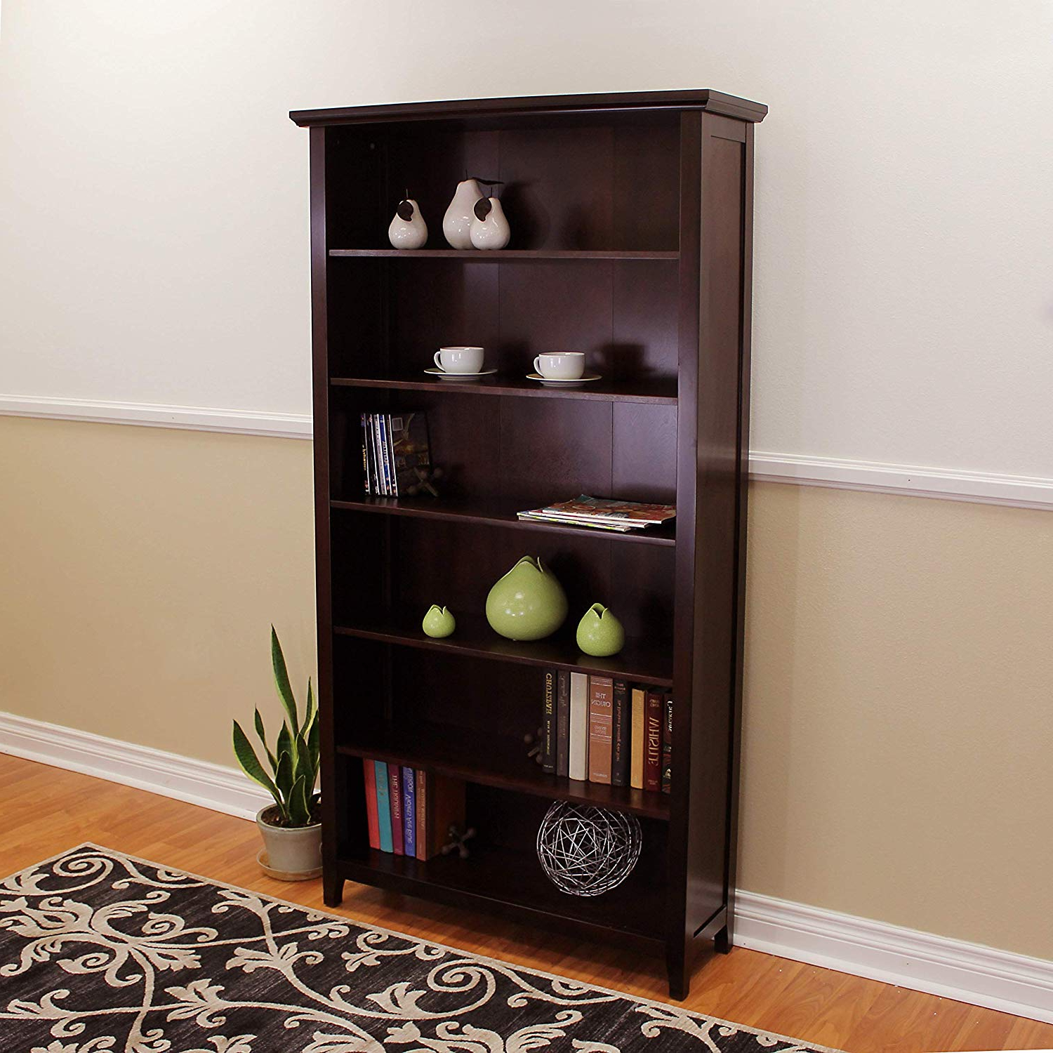 Newest Martinsville Standard Bookcases Intended For Amazon: Donnieann Lindendale Espresso Wood 72 Inch High (View 20 of 20)