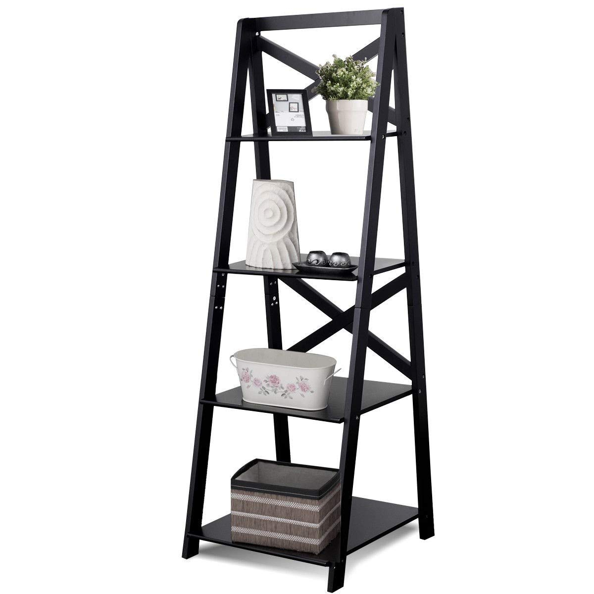Newest Narrow Ladder Bookcases Within Amazon: Lhone Ladder Shelf Bookcase 4 Tier Wood (View 17 of 20)