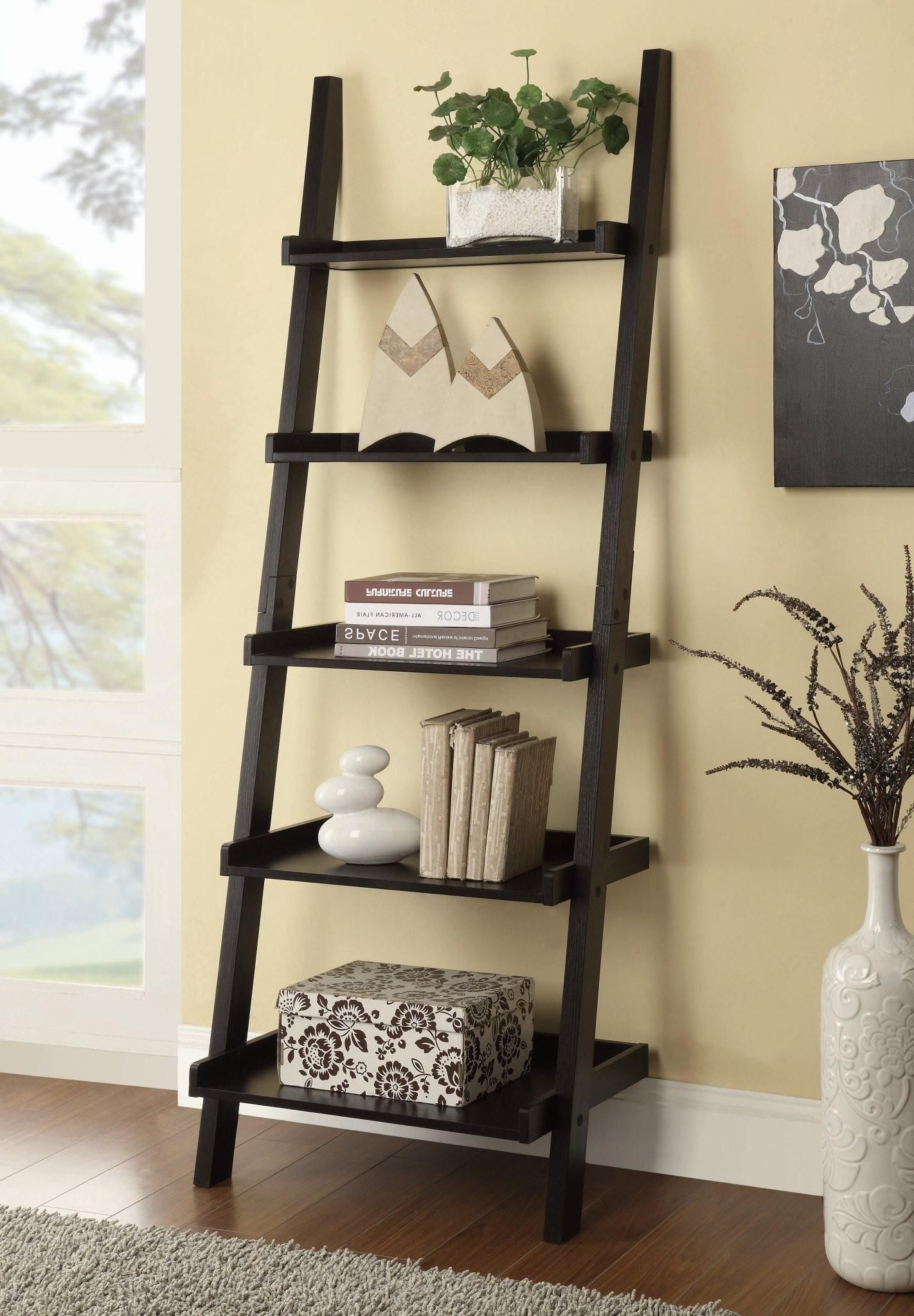 Newest Silvestri Ladder Bookcases Pertaining To 800338 – Bookcases Cappuccino Ladder Bookcase With 5 Shelves (Gallery 16 of 20)