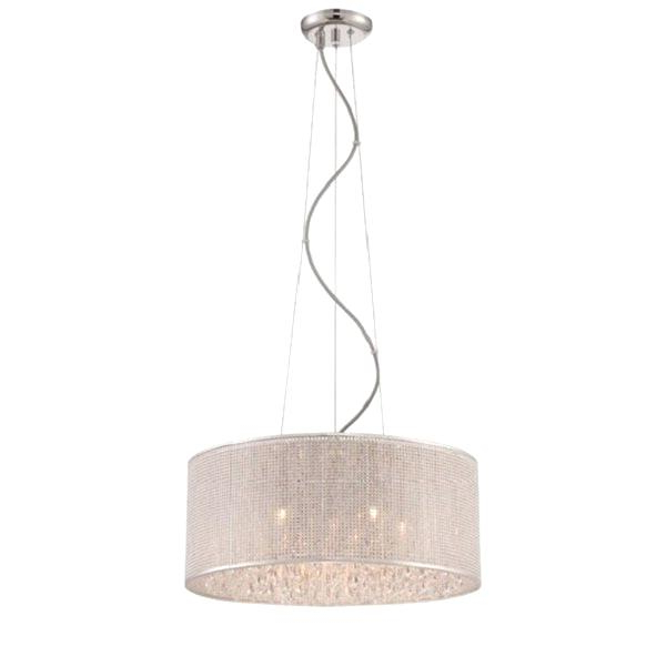 Newest Tadwick 3 Light Single Drum Chandeliers Pertaining To Alina 5 Light Fabric Shade Drum Pendant (Gallery 24 of 25)
