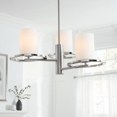 Nickel – Chandeliers – Lighting – The Home Depot Inside Latest Dirksen 3 Light Single Cylinder Chandeliers (Gallery 12 of 25)