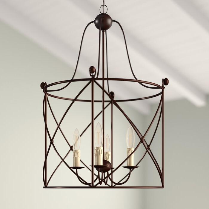 Nisbet 4 Light Lantern Geometric Pendants Pertaining To Most Popular Aniyah 4 Light Lantern Drum Pendant (Gallery 14 of 25)
