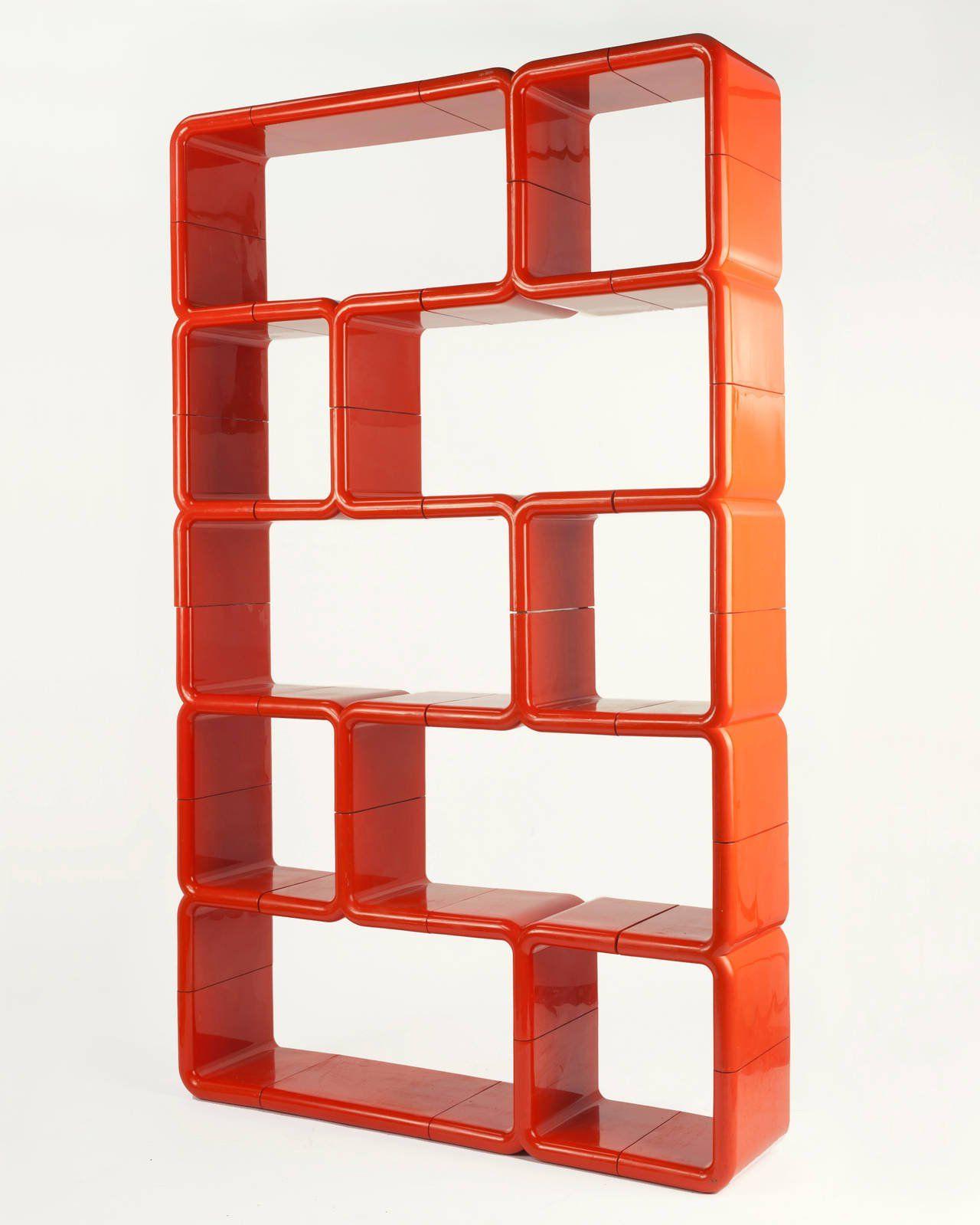 Orange Red Modular Plastic Umbo Bookshelf (View 16 of 20)