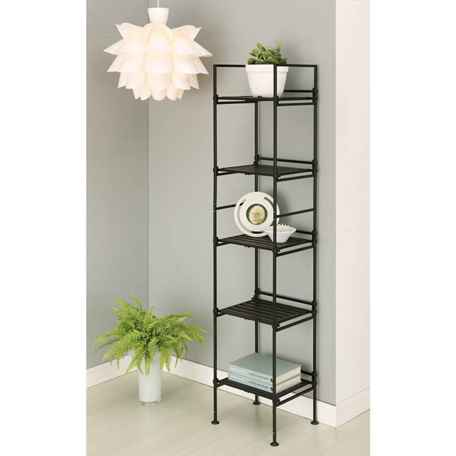 Organize It All Ebonized 97215W 1 5 Tier Square Shelf Pertaining To Popular Aptos Etagere Bookcases (View 4 of 20)