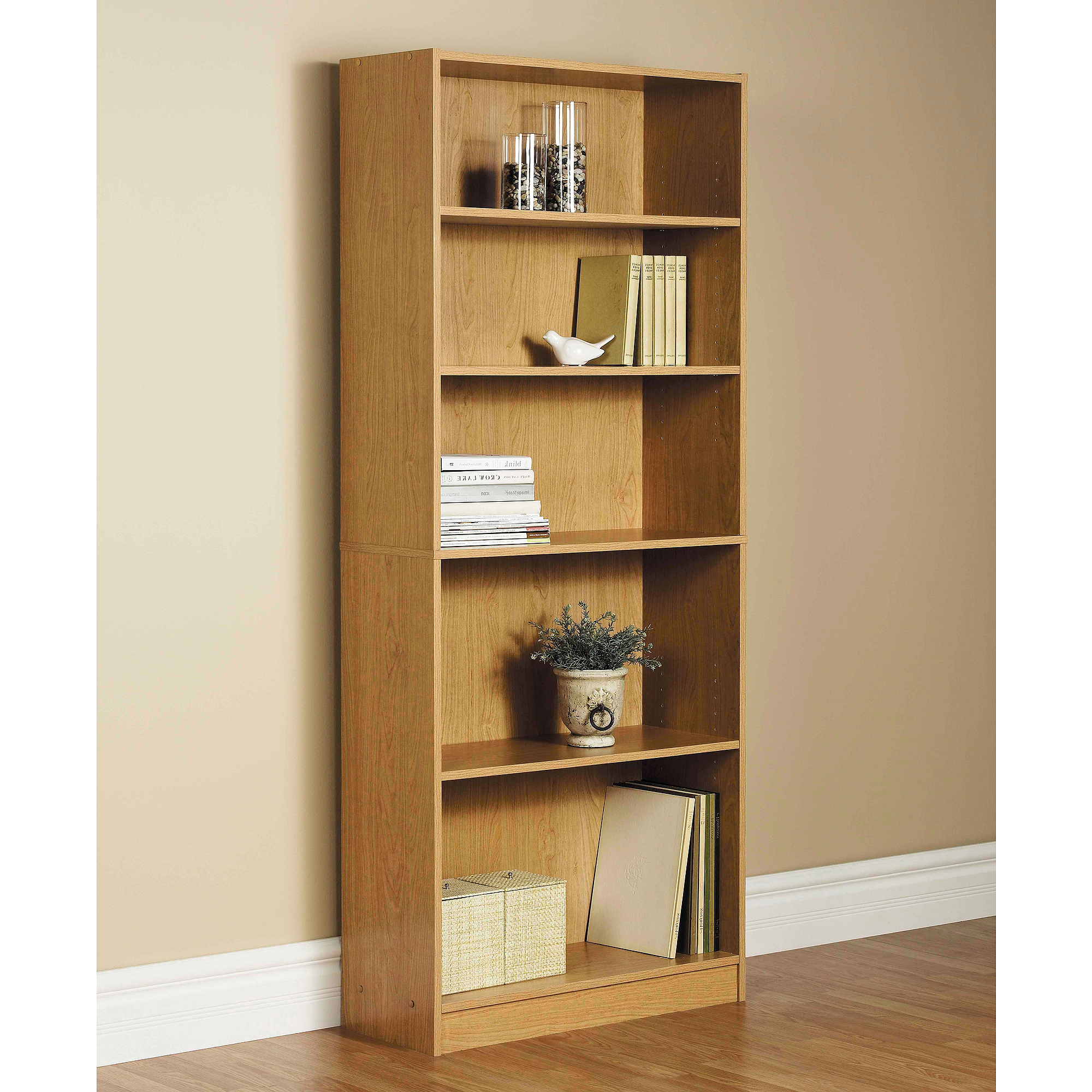 """Orion 72"""" 5 Shelf Wide Bookcase, Oak With Regard To Most Current Decorative Standard Bookcases (View 18 of 20)"""