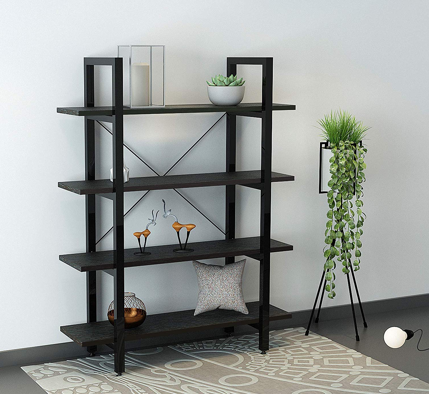 Parker Modern Etagere Bookcases With Regard To 2020 Oraf Bookshelf 4 Tiers Bookcase Wood And Metal Industrial Bookshelf,  Vintage Bookshelf Easy Assembly Display Shelf For Living Room, Bedroom,  Office, (View 11 of 20)