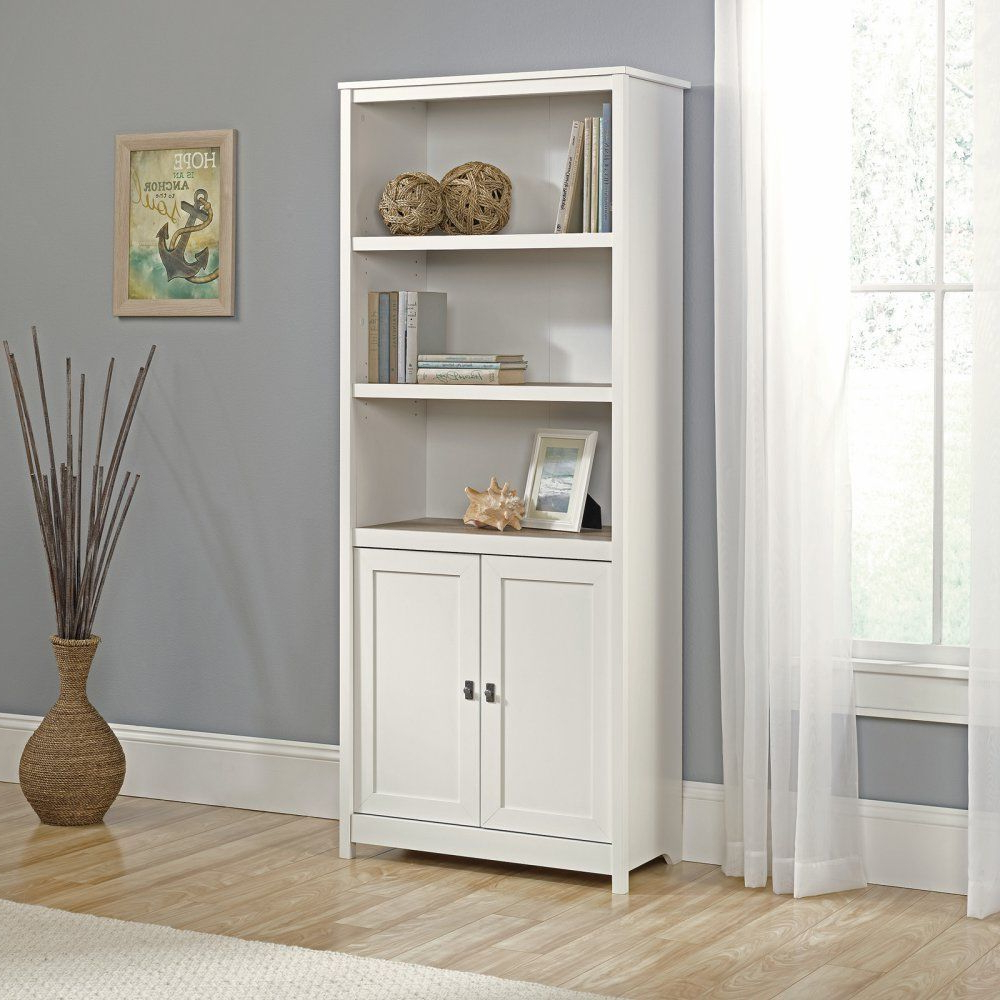 Pinellas Tall Standard Bookcases Inside Fashionable Sauder 3 Adjustable Shelves Cottage Road Library With Doors (View 11 of 20)