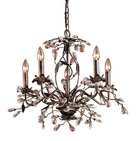 Popular Camilla 9 Light Candle Style Chandeliers With Regard To Elk 8053/5 5 Light Chandelier In Deep Rust And Crystal Droplets (View 19 of 25)
