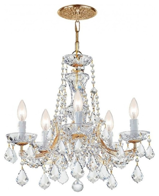 Popular Crystorama Maria Theresa 5 Light Clear Swarovski Crystal Gold Chandelier Regarding Thresa 5 Light Shaded Chandeliers (Gallery 2 of 25)