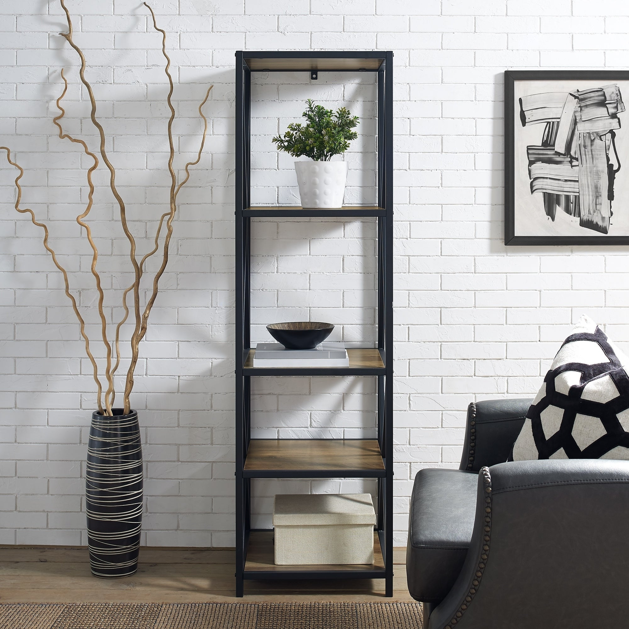 Popular Hattie Corner Bookcases Intended For Carbon Loft Hattie X Frame Metal And Wood Bookshelf – 18 X 16 X 61h (View 17 of 20)