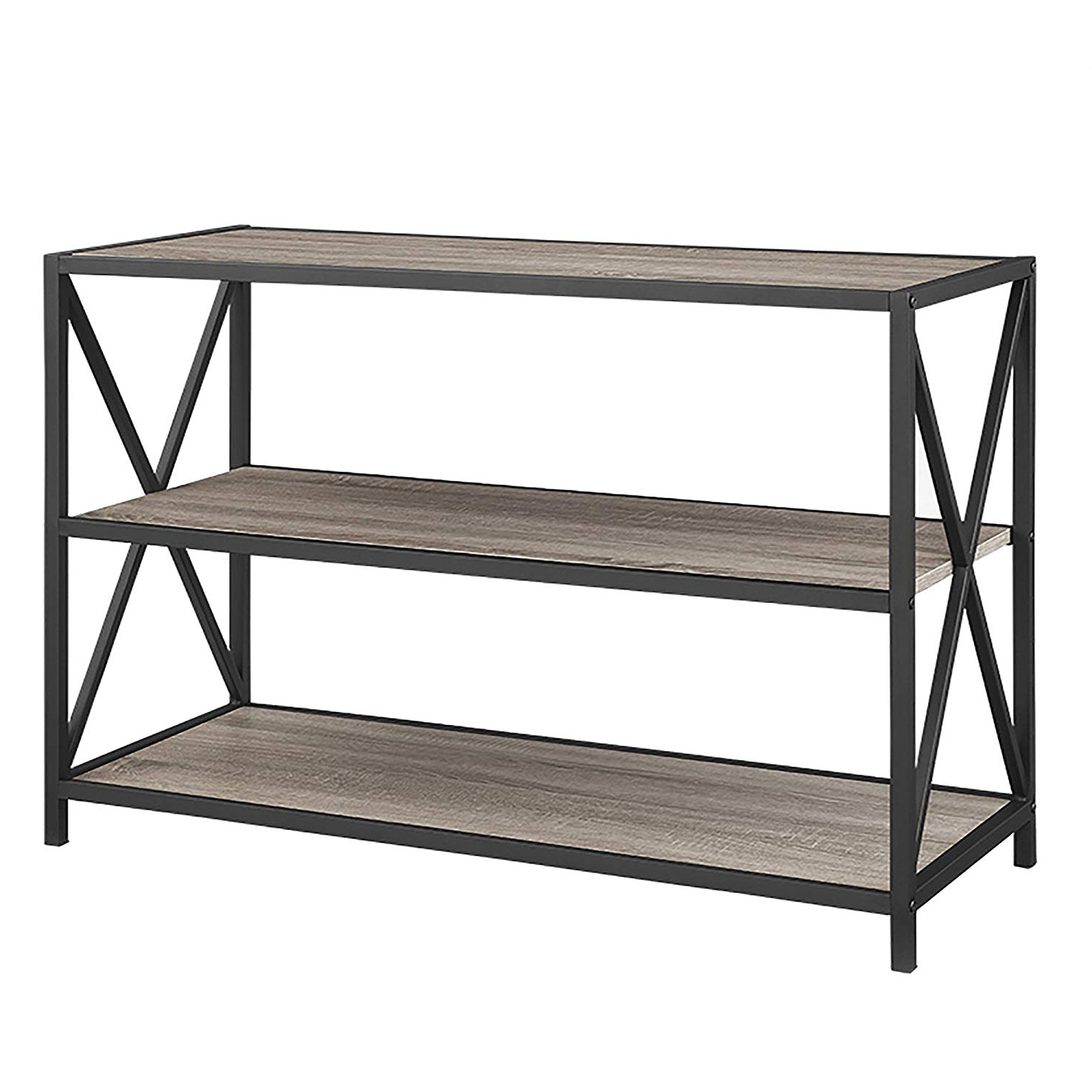 "Popular Hattie Corner Bookcases With Regard To We Furniture 40"" X Frame Metal & Wood Small Media Bookshelf Short, Driftwood, 3 Tier Display Bookcase Organizer 3 Shelf Entryway Table (View 14 of 20)"
