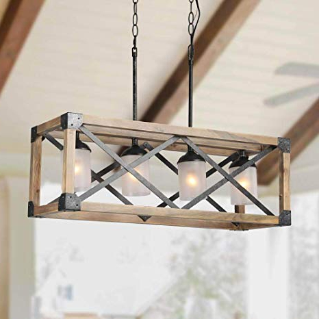 Popular Laluz Wood Kitchen Island Farmhouse Pendant Lighting Hanging Fixture For  Dining Room, 4 Glass Globes, A02989 In Ellenton 4 Light Rectangle Chandeliers (Gallery 4 of 25)