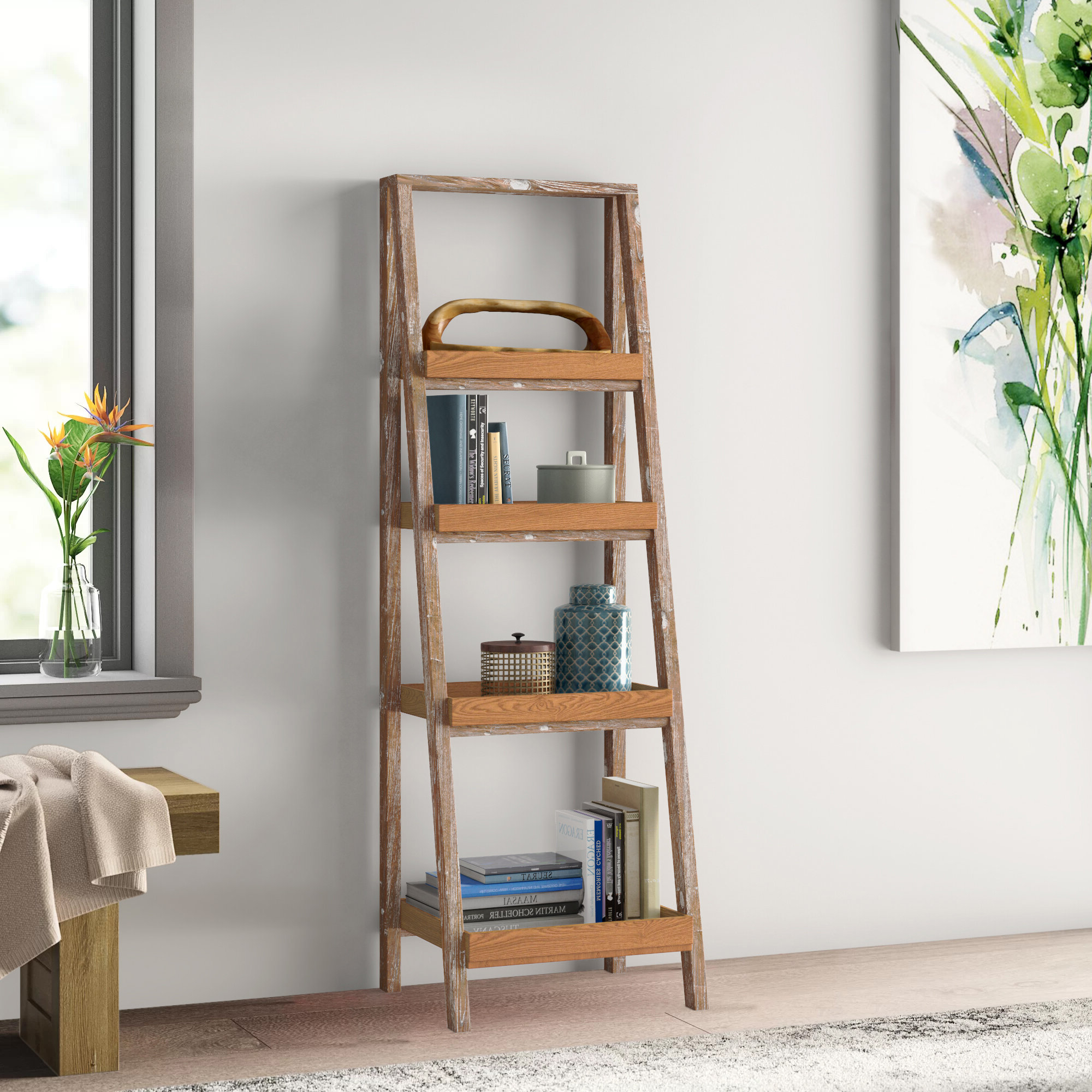 Popular Noelle Ashlynn Ladder Bookcases Within Taniya 72 Ladder Bookcase (View 13 of 20)