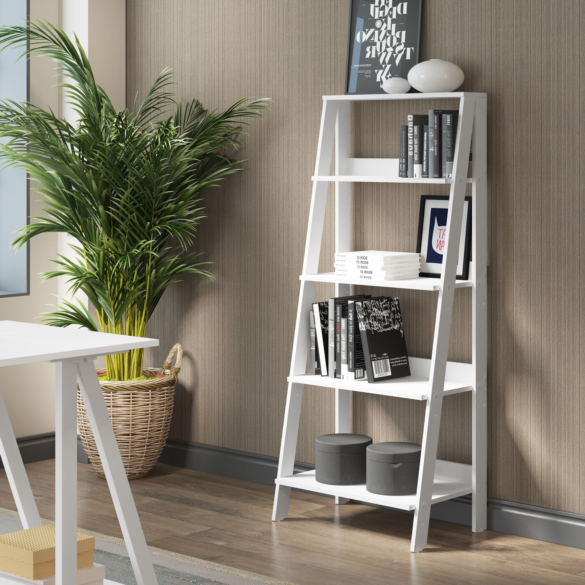 Popular Ricardo Ladder Bookcases Inside Havenside Home Palmer 55 Inch White Wood Ladder Bookshelf (View 7 of 20)