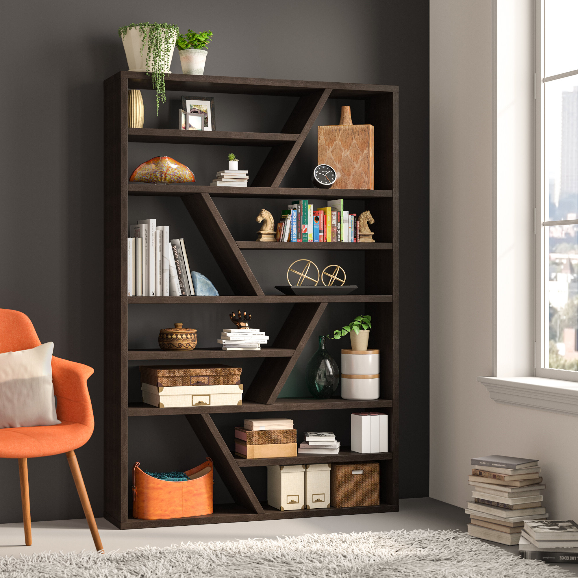 Popular Swarey Geometric Bookcase Pertaining To Ansley Geometric Bookcases (View 13 of 20)