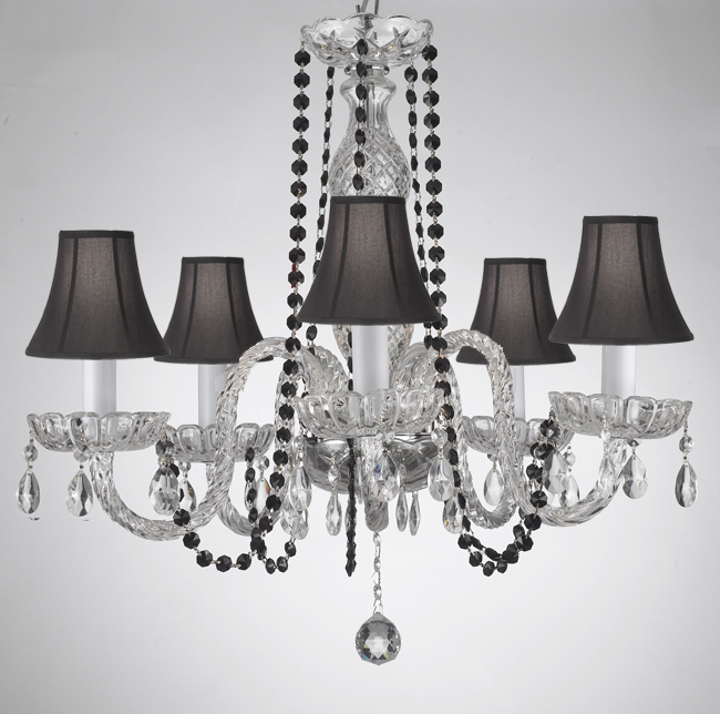 Popular Thresa 5 Light Shaded Chandeliers Within A46 B1/sc/384/5 – Crystal Chandelier Chandeliers Lighting (View 14 of 25)