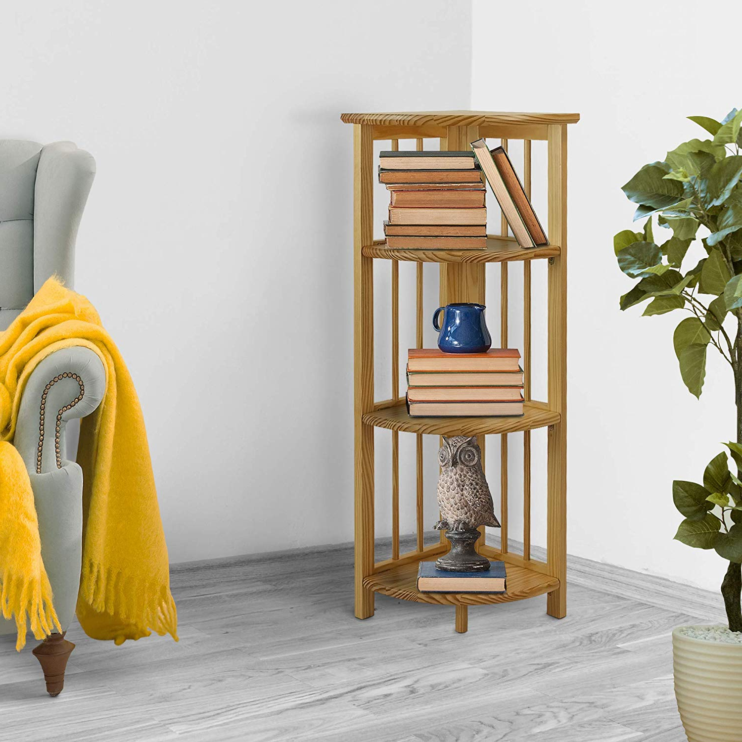 Popular Yu Shan 4 Shelf Corner Bookcase, Natural Within Duerr Corner Unit Bookcases (View 14 of 20)