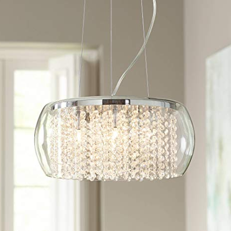 "Possini Euro Crystal Rainfall 17"" Wide Glass Drum Chandelier – Possini Euro  Design With Well Liked Jill 4 Light Drum Chandeliers (Gallery 9 of 25)"