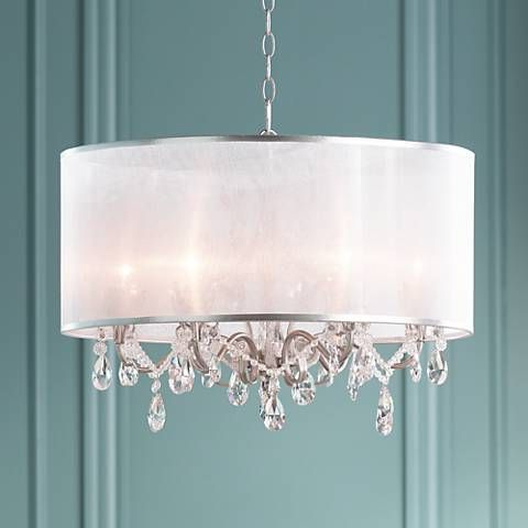 "Possini Euro Farina 23"" Wide Organza Silver Pendant Light With Regard To Famous Lindsey 4 Light Drum Chandeliers (Gallery 17 of 25)"