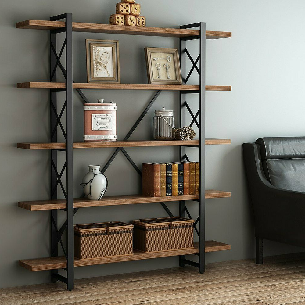 Poynor Library Bookcases Within Well Known Vintage Free Standing Bookshelf 3/4/5 Tier Industrial Style (Gallery 20 of 20)
