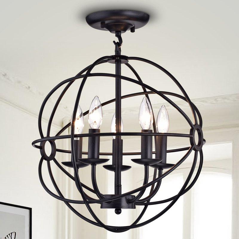 Preferred 5 Light Globe Chandelier For Hendry 4 Light Globe Chandeliers (Gallery 20 of 25)