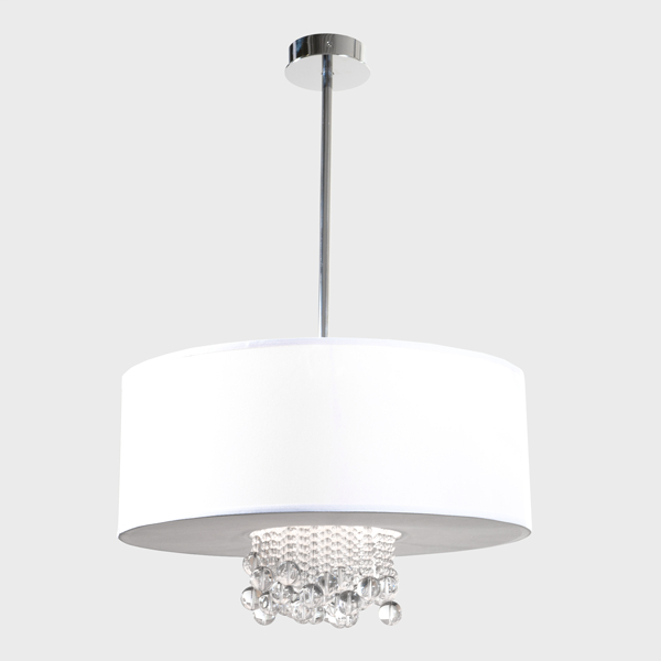 Preferred Abel 5 Light Drum Chandeliers Throughout Pina Fabric Shade Pendant In  (View 18 of 25)