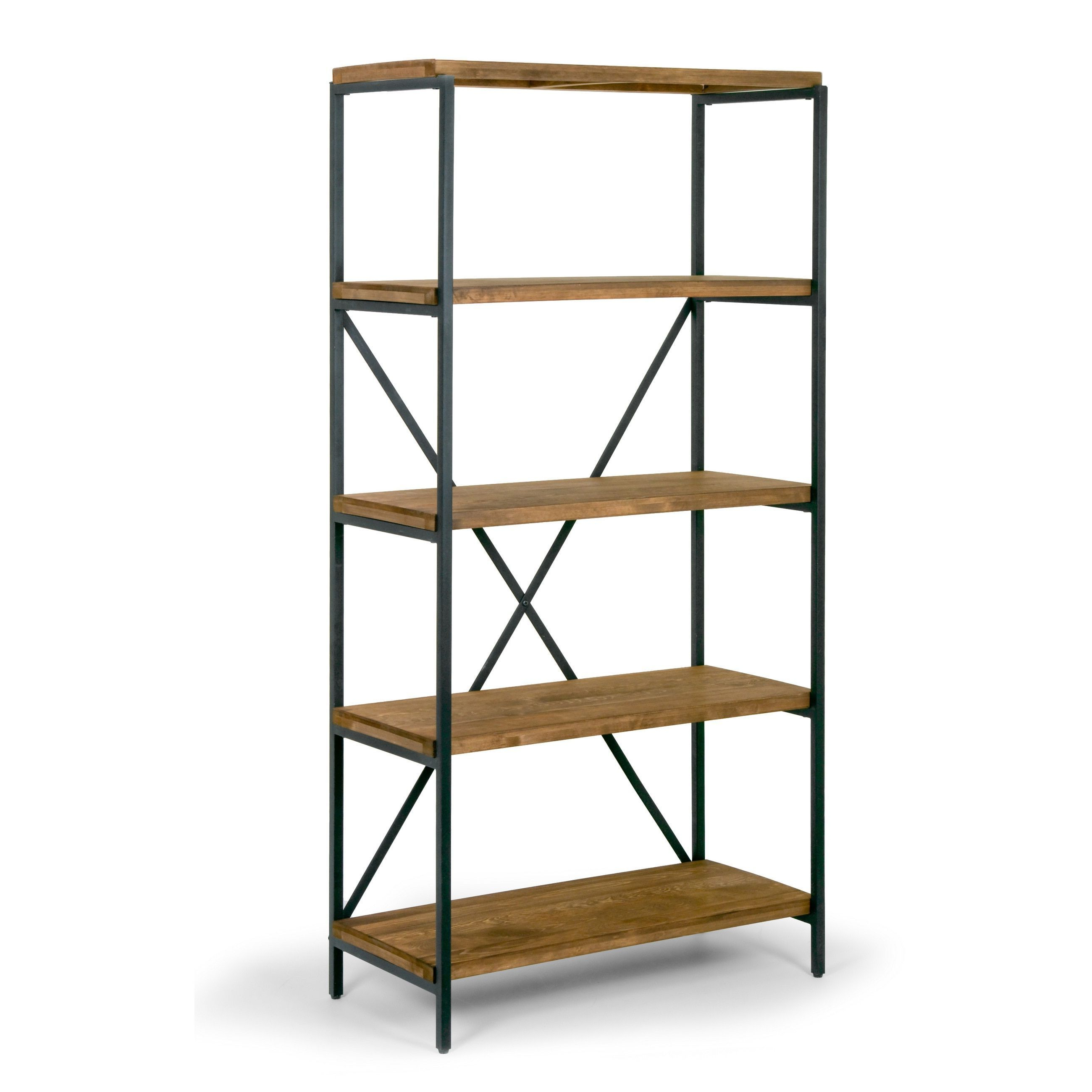 "Preferred Ailis 67"" Brown Pine Wood Shelf Etagere Bookcase Media With Rossman Etagere Bookcases (View 10 of 20)"