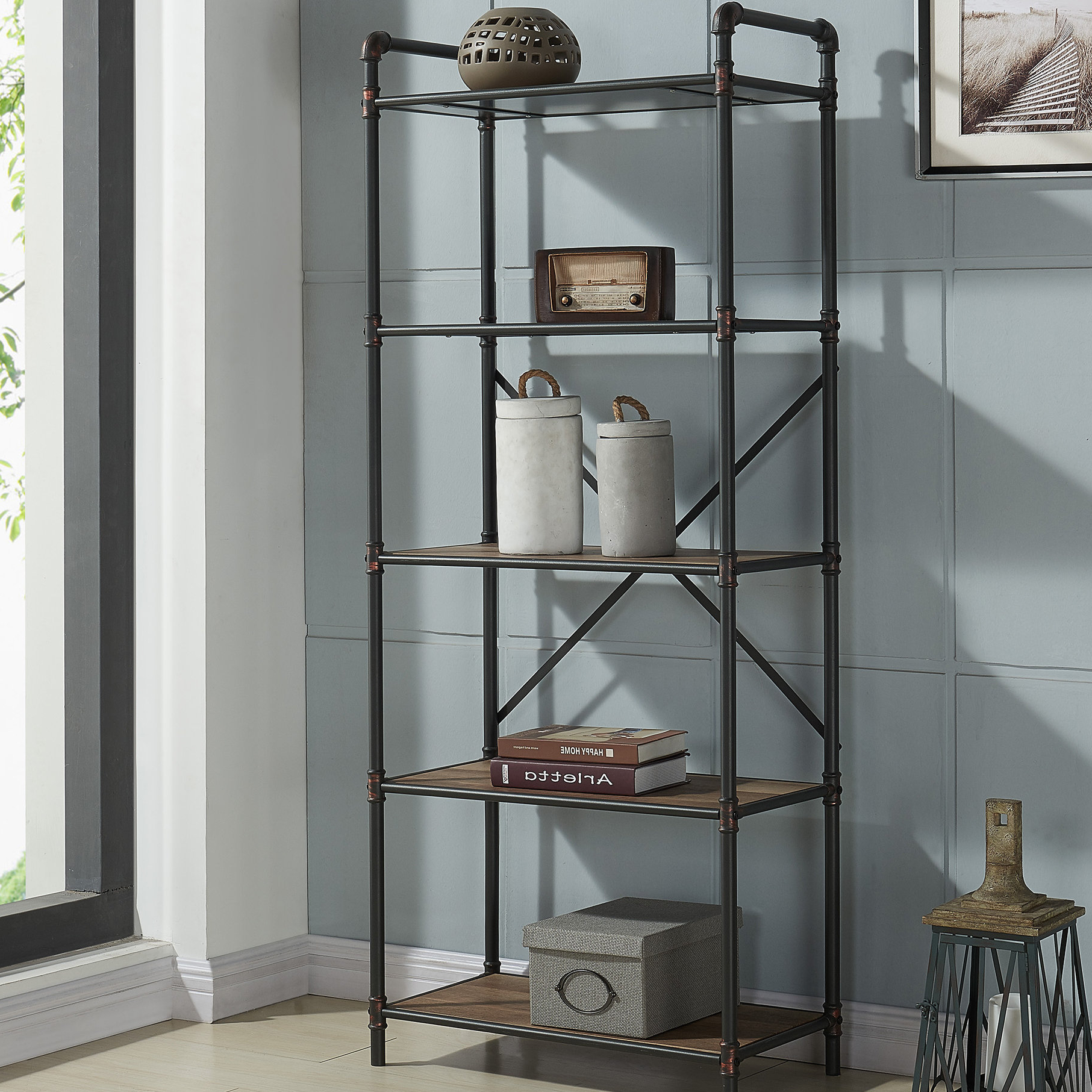 Preferred Aptos Etagere Bookcases With Regard To 5 Tier Pipe Etagere Bookcase (View 3 of 20)