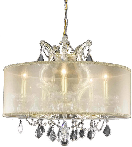 Preferred Maria Theresa 6 Light 23 Inch Gold Dining Chandelier Ceiling Light In Clear, Elegant Cut, Gold Shade Pertaining To Thresa 5 Light Shaded Chandeliers (View 18 of 25)
