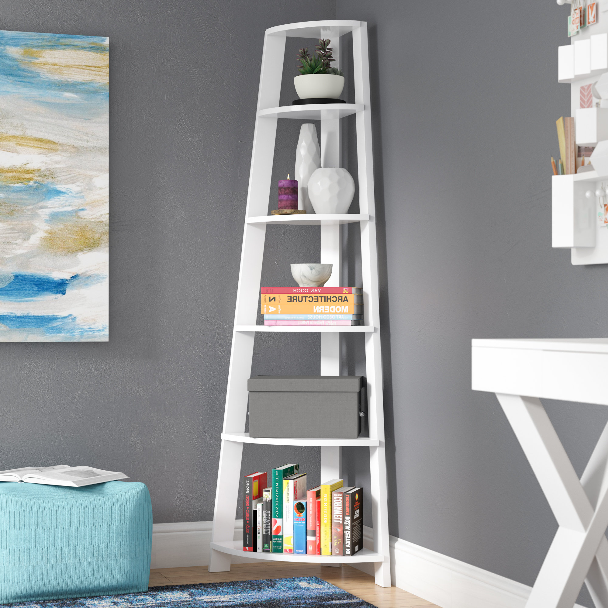 Preferred Pierview Corner Bookcases Intended For Hewitt Corner Bookcase (Gallery 9 of 20)