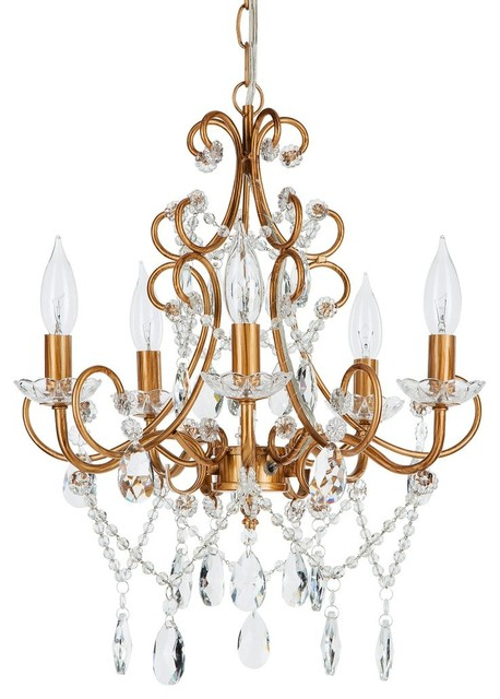 Preferred Theresa 5 Light Wrought Iron Crystal Chandelier, Gold Pertaining To Thresa 5 Light Shaded Chandeliers (Gallery 4 of 25)