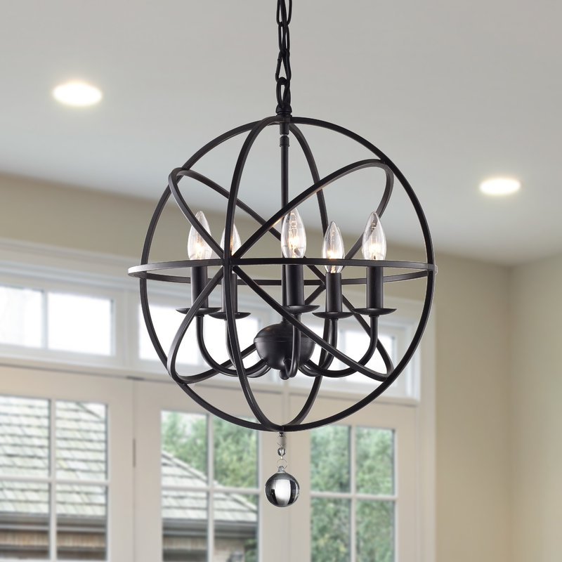 Preferred Waldron 5 Light Globe Chandeliers With Regard To Verlene Foyer 5 Light Globe Chandelier (View 17 of 25)