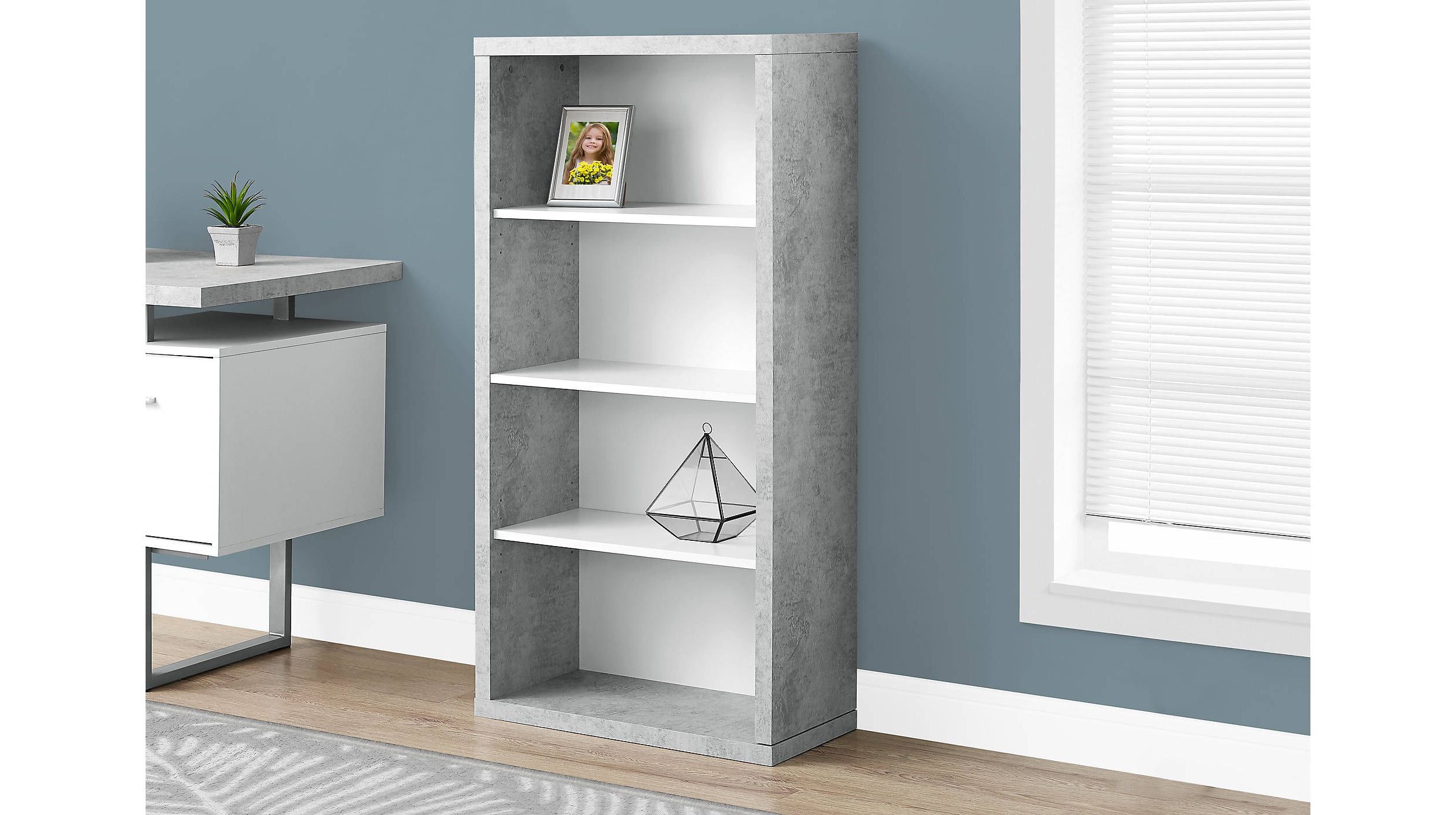 Product Details Gray Faux Cement Bookcase With White Shelves With 2020 Harkless Standard Bookcases (View 6 of 20)