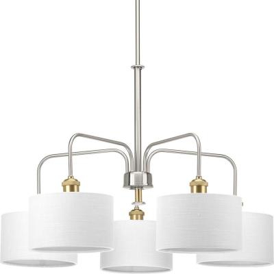Progress Lighting Inspire Collection 5 Light Brushed Nickel In Current Crofoot 5 Light Shaded Chandeliers (Gallery 13 of 25)