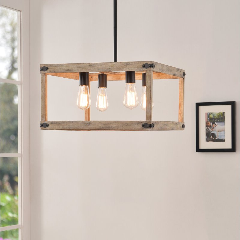 Pulver 4 Light Square Chandelier With Most Popular Delon 4 Light Square Chandeliers (Gallery 16 of 25)