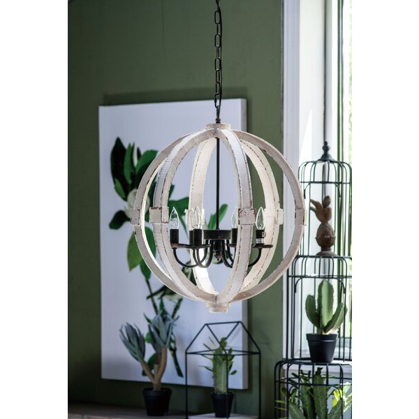 Reanna Wooden 6 Light Globe Chandelier Within 2017 Shayla 12 Light Wagon Wheel Chandeliers (View 14 of 25)