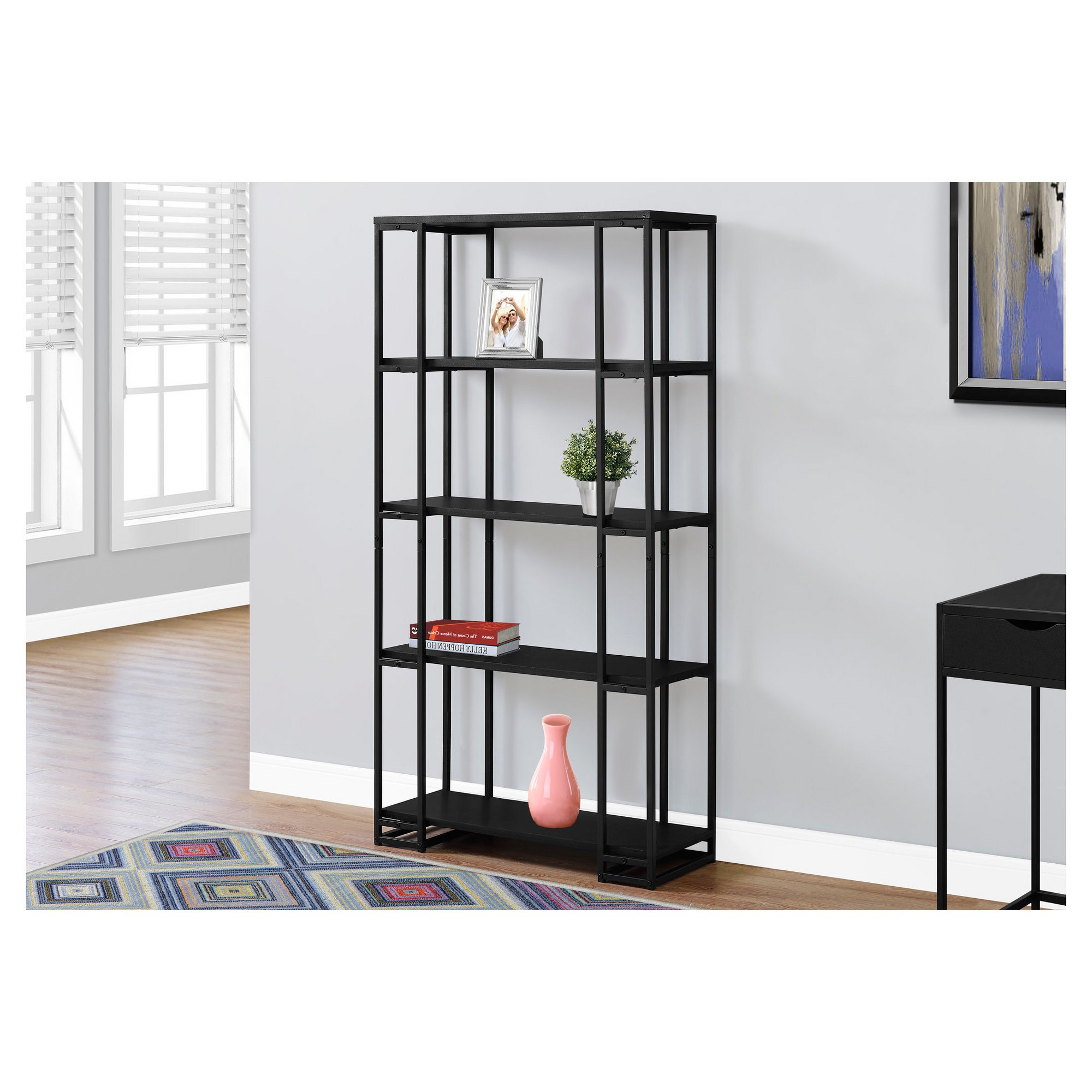Recent 70 – Bookcase – Black& Black Metal – Everyroom (View 7 of 20)