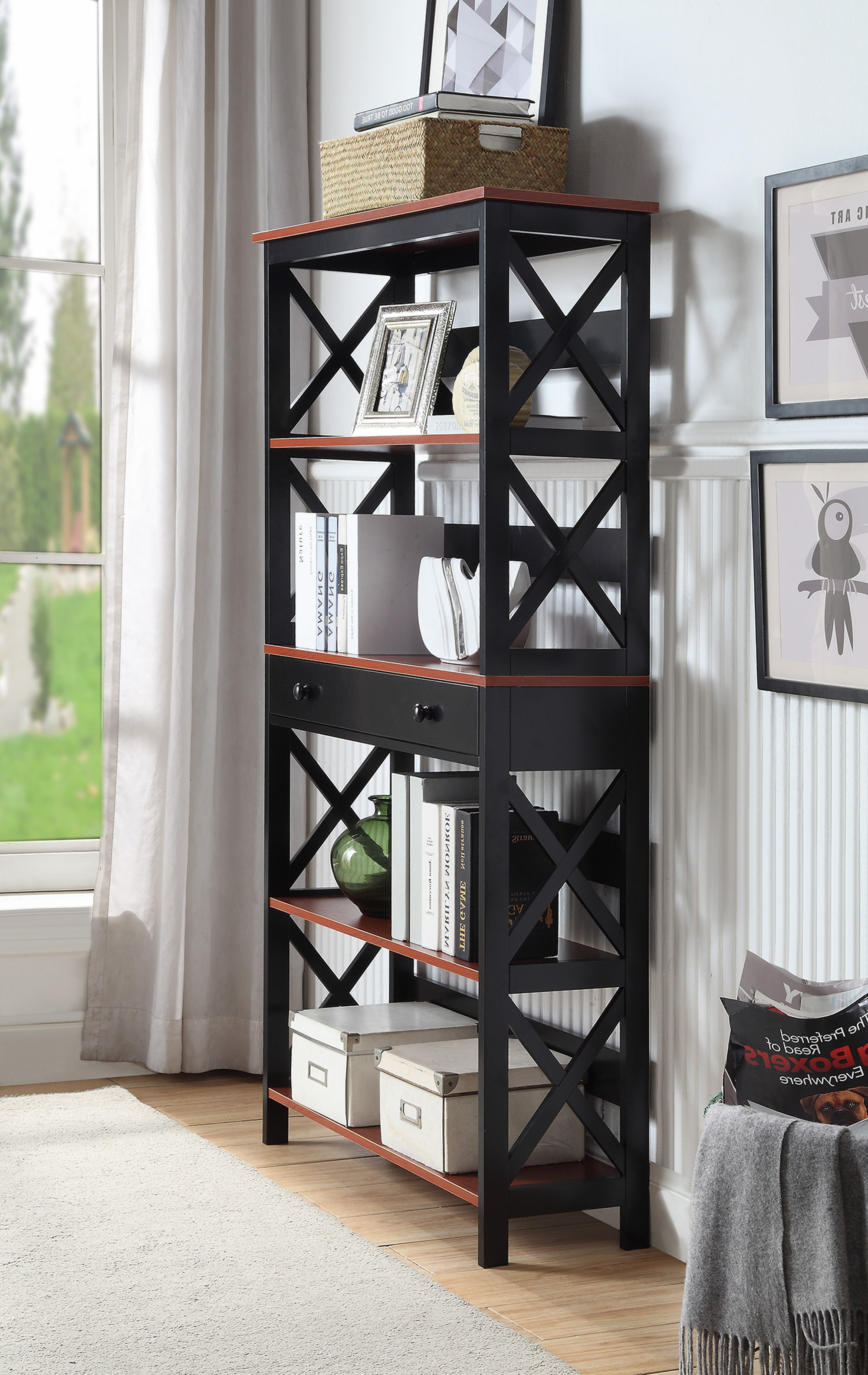 Recent Ardenvor Etagere Standard Bookcases Within Gracelynn 5 Tier Etagere Bookcase (View 15 of 20)