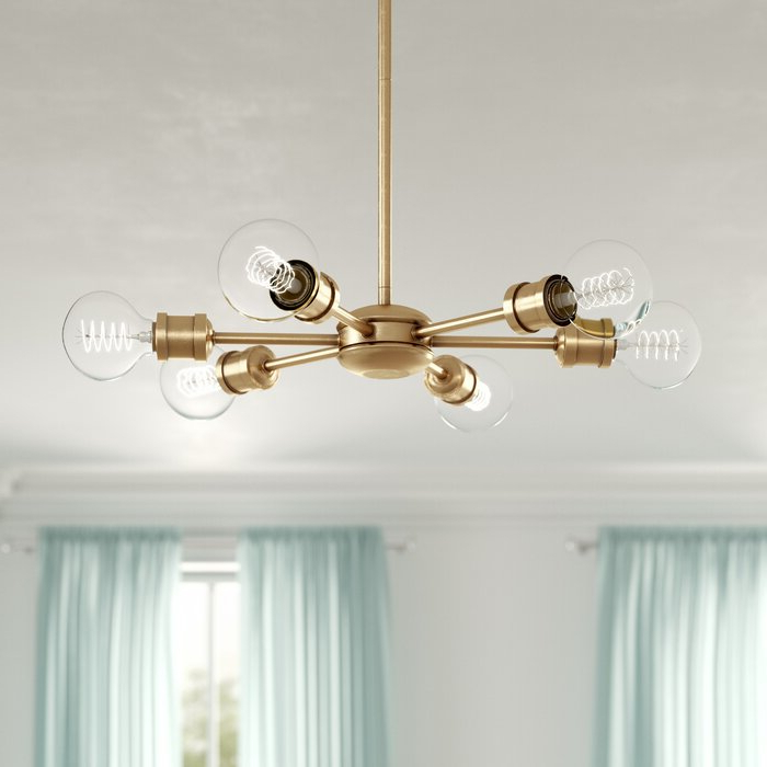 Recent Asher 12 Light Sputnik Chandeliers Regarding Bautista 6 Light Sputnik Chandelier (View 18 of 25)