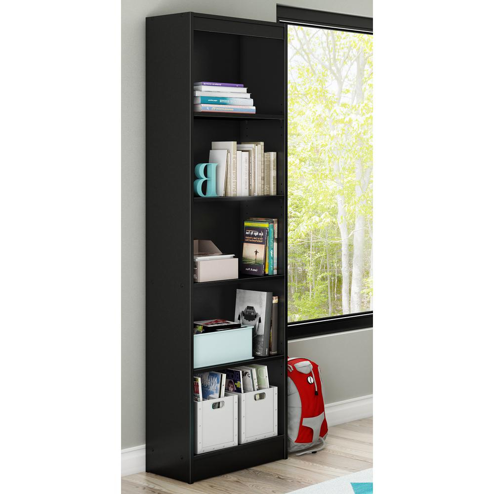 Recent Axess Standard Bookcases Regarding Details About Axess 5 Shelf Pure Black Bookcase (View 6 of 20)