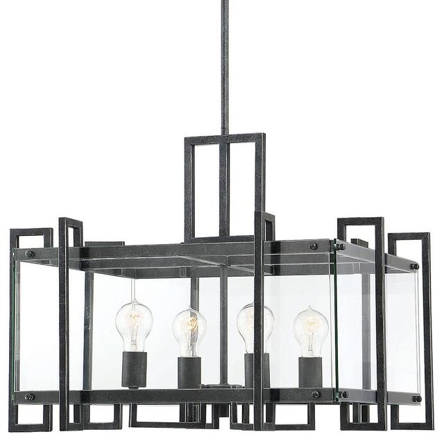 "Recent Bennington 4 Light Candle Style Chandeliers Regarding Savoy House 7 2281 4 Bennington 4 Light 24"" Wide Chandelier With Glass  Panels (View 19 of 25)"
