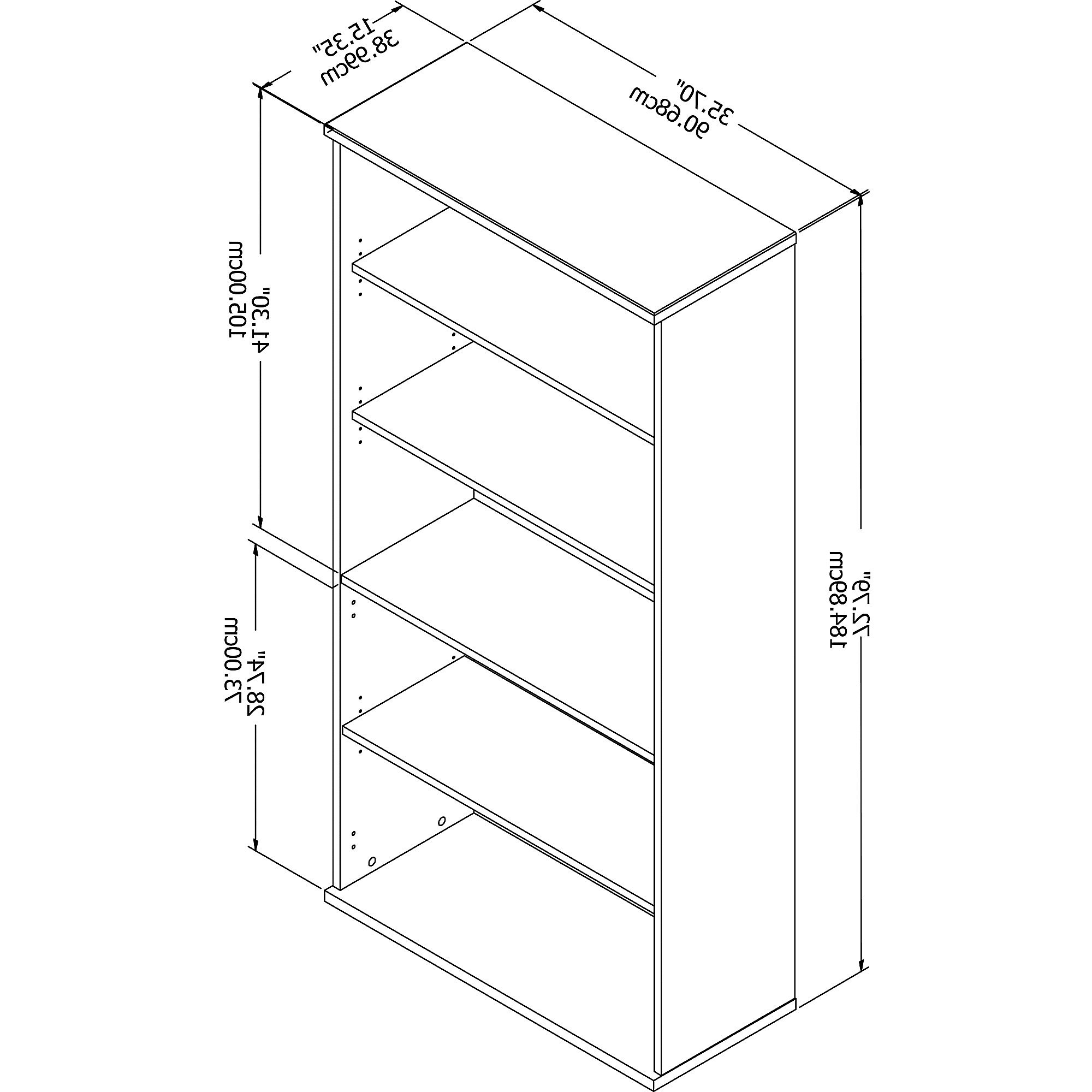 Recent Details About Bush Business Furniture Studio C 5 Shelf Standard Bookcase Pertaining To Series C Standard Bookcases (View 15 of 20)