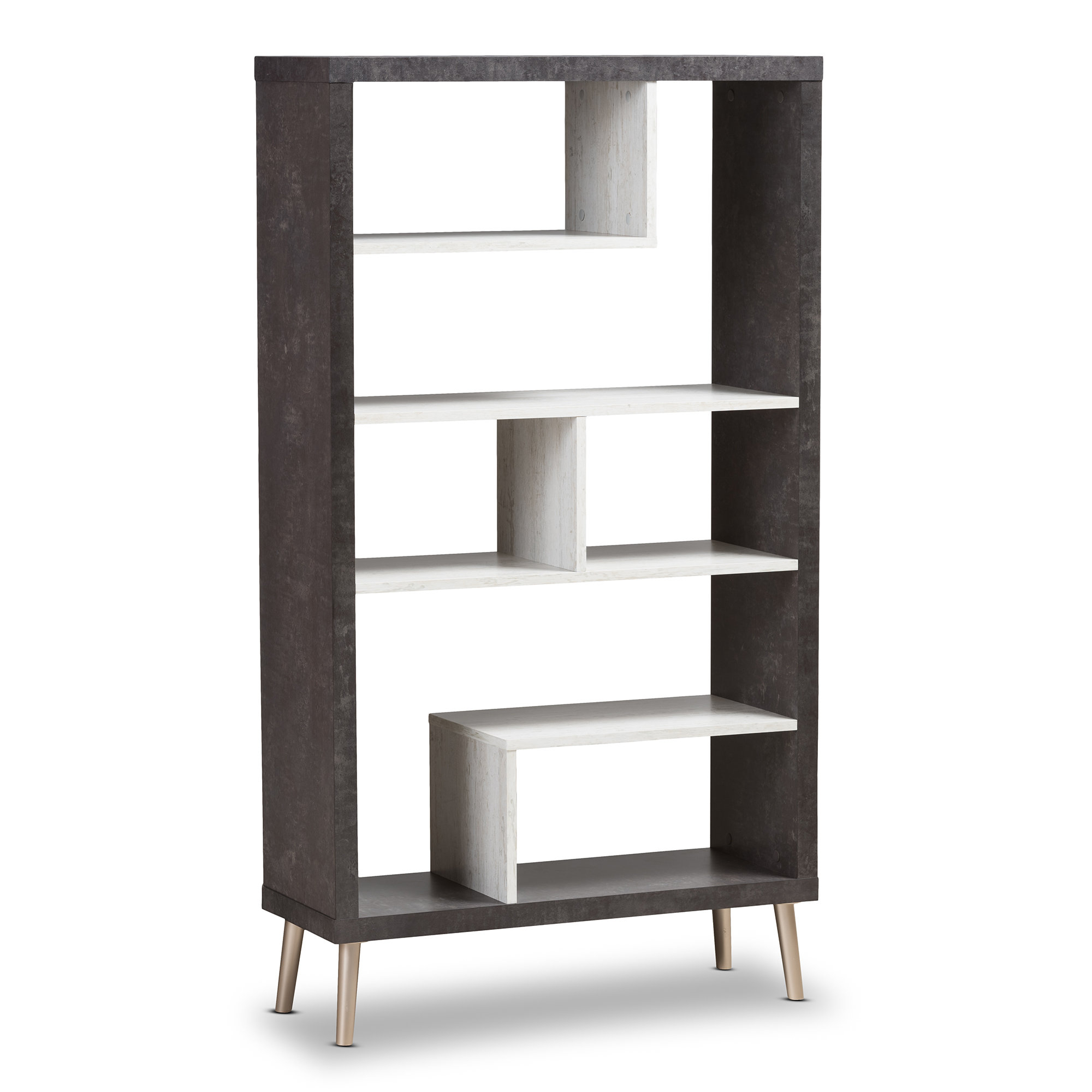 Recent Ivy Bronx Baptista Geometric Bookcase With Regard To Skaggs Geometric Bookcases (View 11 of 20)