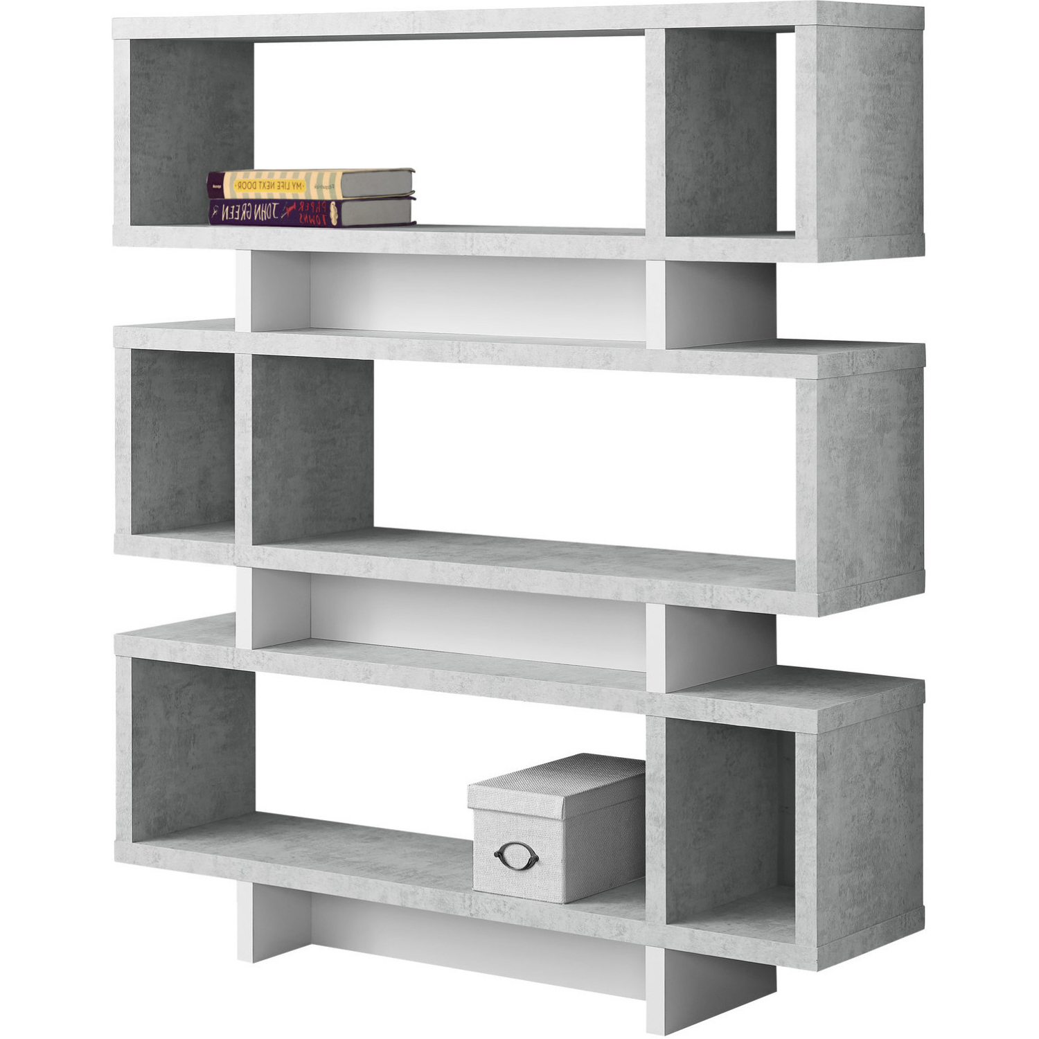 "Recent Mckibben Geometric Bookcases Intended For Monrach 55 "" Bookcase White Cement Look Modern Style In (View 17 of 20)"