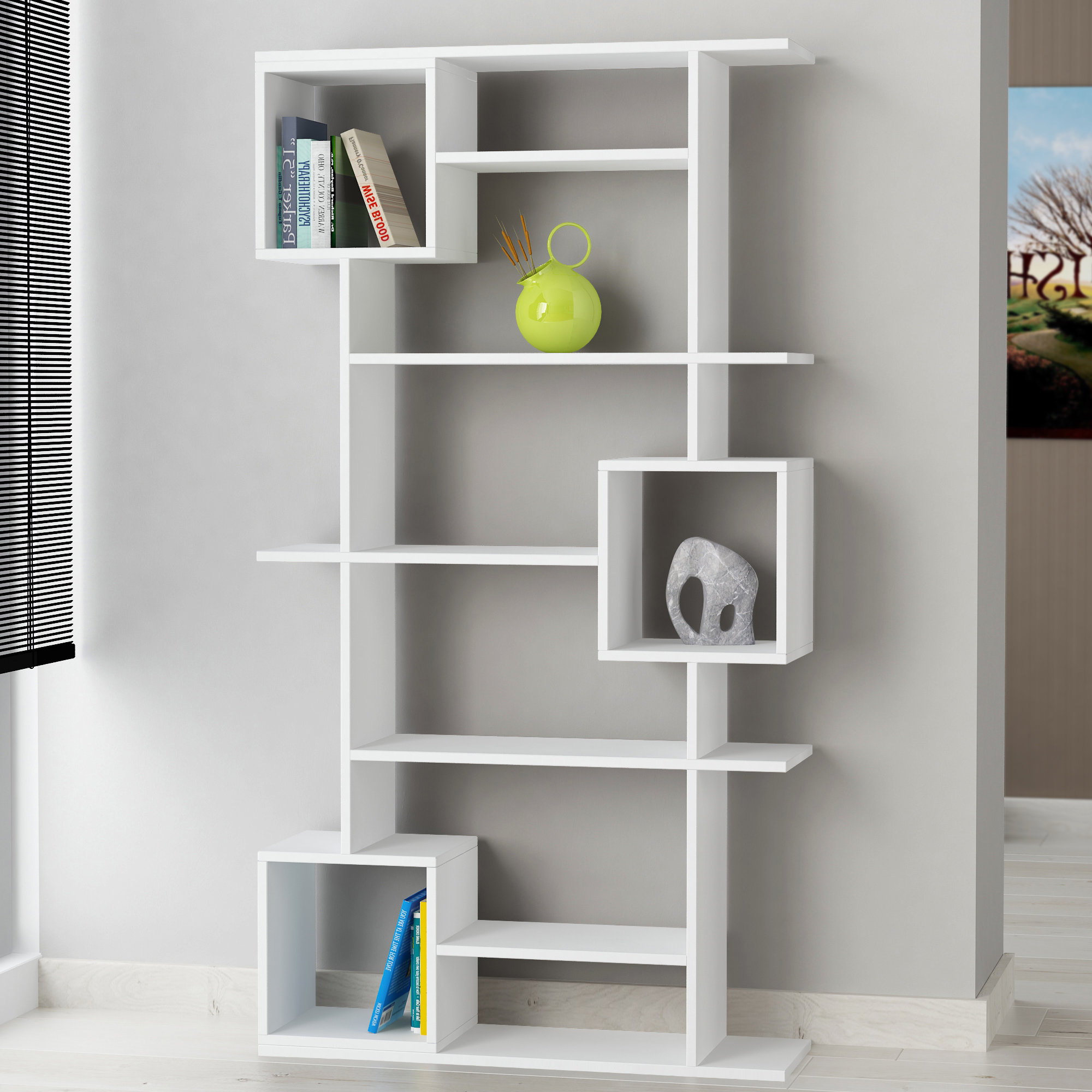 Recent Mckibben Geometric Bookcases With Hillary Modern Geometric Bookcase (View 16 of 20)