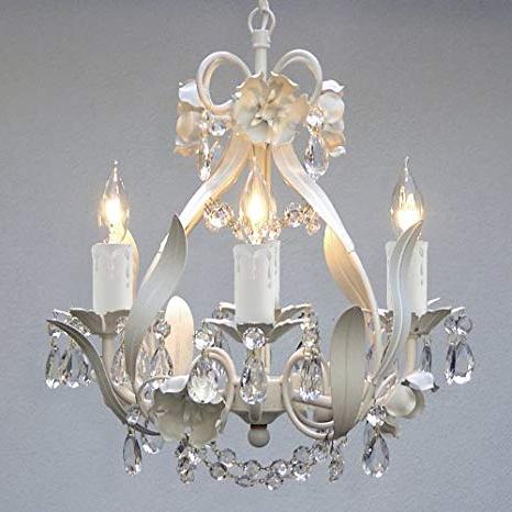 Recent Mini 4 Light White Floral Crystal Chandelier Regarding Von 4 Light Crystal Chandeliers (View 22 of 25)